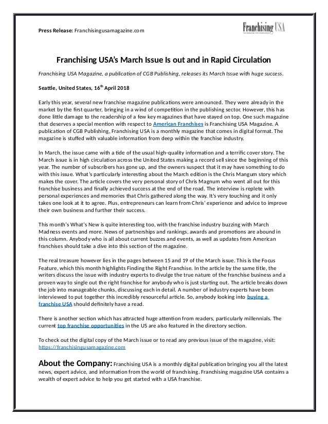 Press Release: Franchisingusamagazine.com Franchising USA's March Issue Is out and in Rapid Circulation Franchising USA Ma...