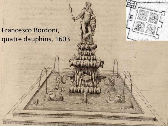 Francesco Bordoni, cygnes et vases de bronze,  coquilles de pierre de liais, 1603