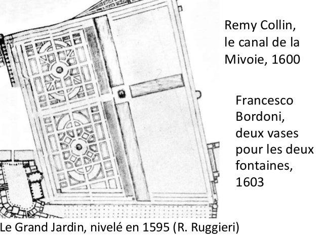 1609 adjudication remportée par Alessandro  quatre fontaines rustiques à trois vasques superposées du  parterre du Tibre ;...
