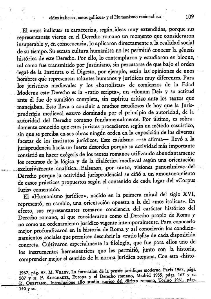 """Francisco carpintero:  """"Mos italicus"""", """"mos gallicus"""" y el humanismo racionalista. Una contribuición a la historia de la metodologia jurídica. Slide 3"""