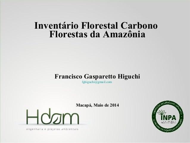 Inventário Florestal Carbono Florestas da Amazônia Francisco Gasparetto Higuchi fghiguchi@gmail.com Macapá, Maio de 2014