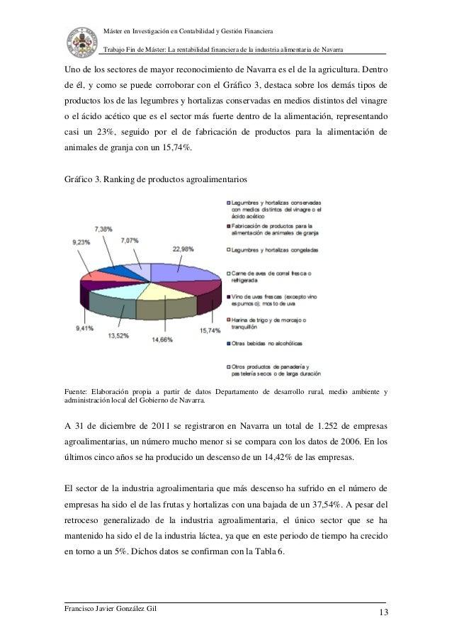 La rentabilidad financiera de la industria alimentaria de navarra - Oficina de empleo navarra ...