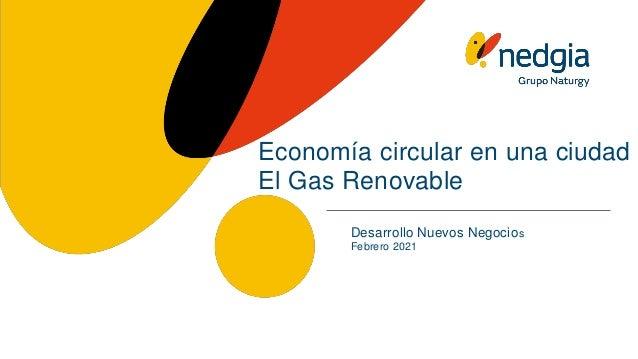 Economía circular en una ciudad El Gas Renovable Desarrollo Nuevos Negocios Febrero 2021