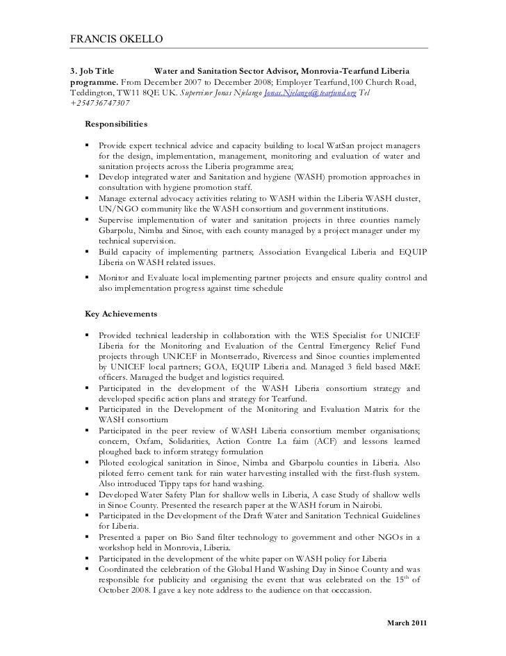5 francis okello3 job title water and sanitation - Sanitation Worker Job  Description