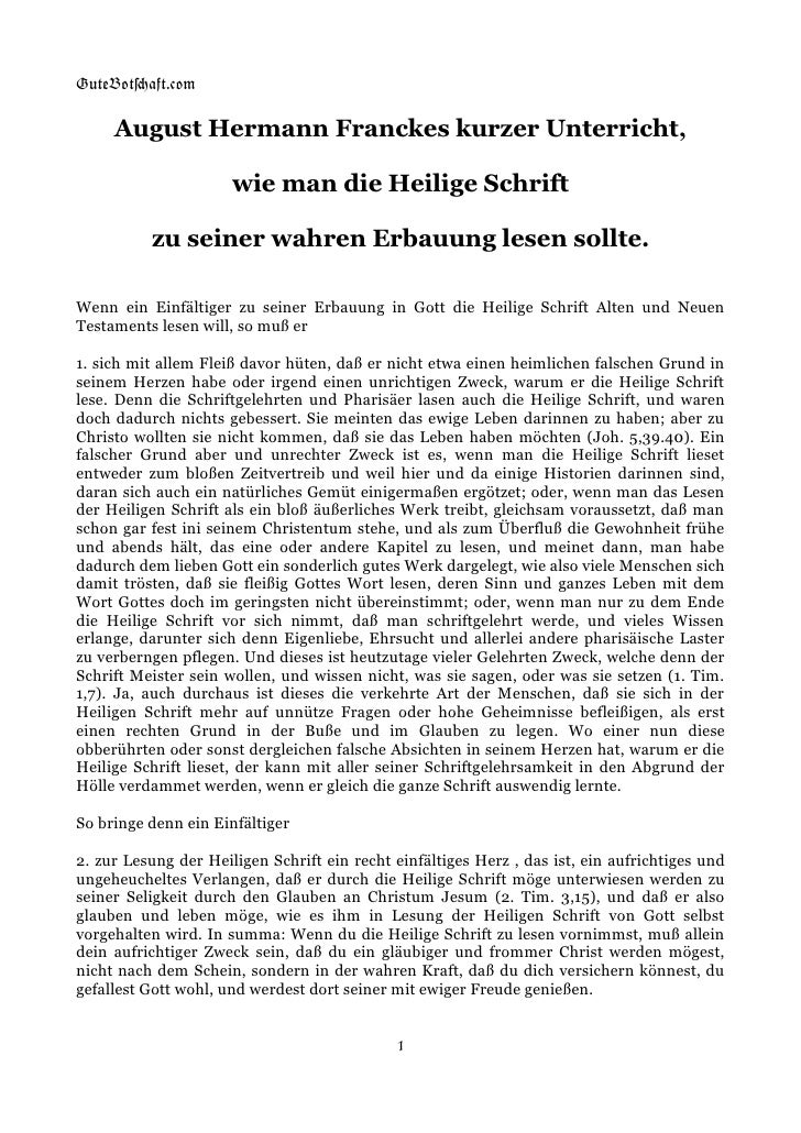 GuteBot[aft.$om       August Hermann Franckes kurzer Unterricht,                        wie man die Heilige Schrift       ...