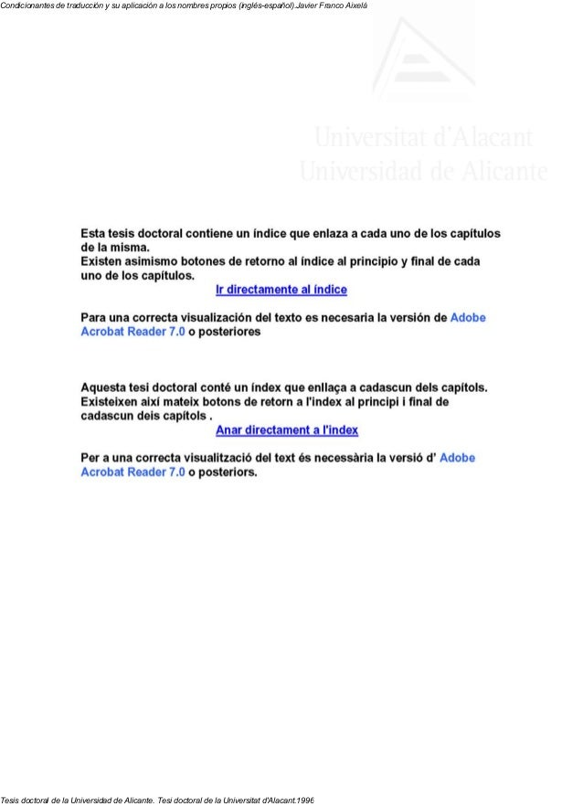 Condicionantes de traducción y su aplicación a los nombres propios (inglés-español).Javier Franco Aixelá Tesis doctoral de...