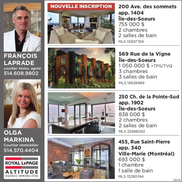 FRANÇOIS LAPRADE courtier immo. agréé 514.608.9802 569 Rue de la Vigne Île-des-Soeurs 1 050 000 $ +TPS/TVQ 3 chambres 3 sa...