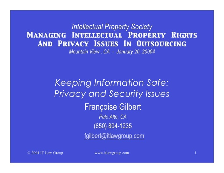 Intellectual Property Society Managing Intellectual Property Rights   And Privacy Issues In Outsourcing                   ...