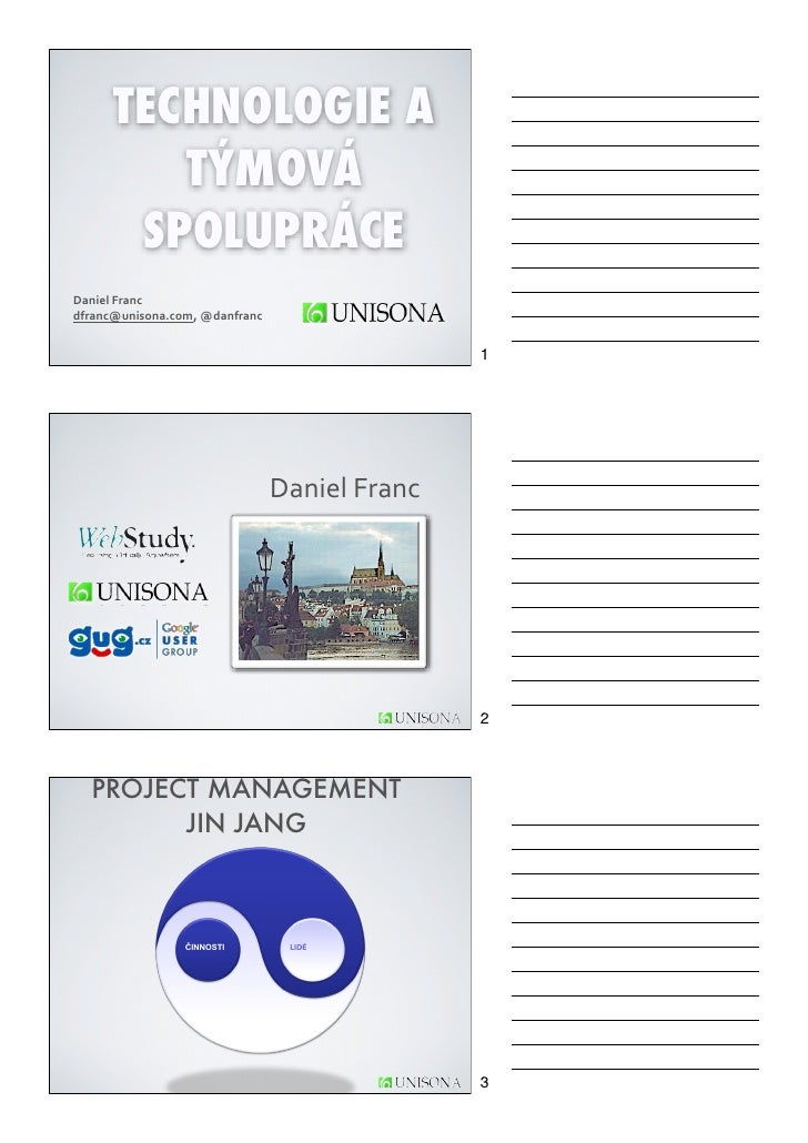 TECHNOLOGIE A         TÝMOVÁ       SPOLUPRÁCEDaniel Franc dfranc@unisona.com, @danfranc                             ...