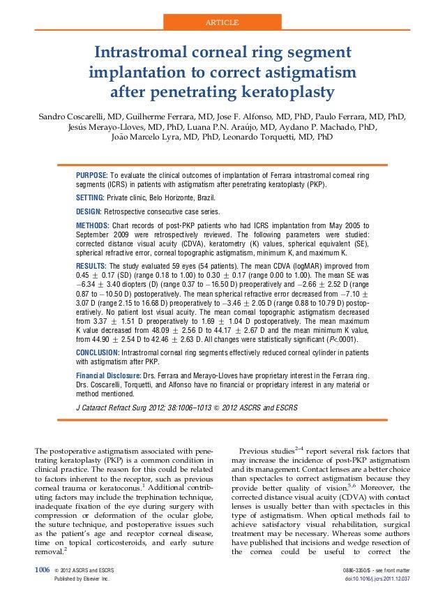 Intrastromal corneal ring segmentimplantation to correct astigmatismafter penetrating keratoplastySandro Coscarelli, MD, G...