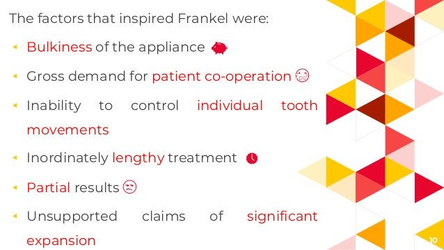 10 The factors that inspired Frankel were: ◂ Bulkiness of the appliance ◂ Gross demand for patient co-operation 😭 ◂ Inabil...