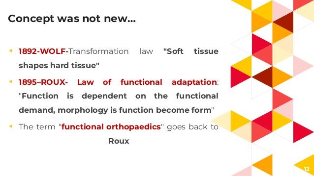"""12 Concept was not new… ◂ 1892-WOLF-Transformation law """"Soft tissue shapes hard tissue"""" ◂ 1895–ROUX- Law of functional ada..."""