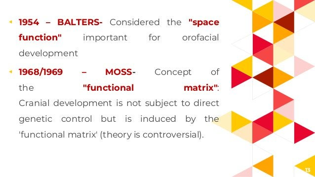 """13 ◂ 1954 – BALTERS- Considered the """"space function"""" important for orofacial development ◂ 1968/1969 – MOSS- Concept of th..."""