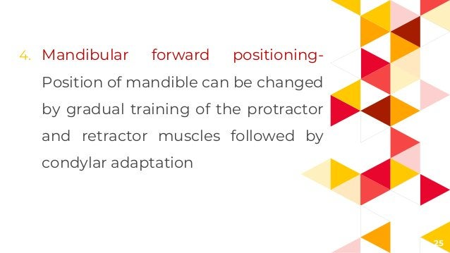 25 4. Mandibular forward positioning- Position of mandible can be changed by gradual training of the protractor and retrac...