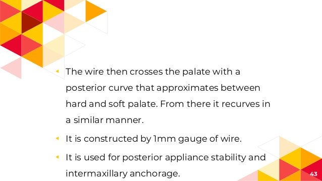 ◂ The wire then crosses the palate with a posterior curve that approximates between hard and soft palate. From there it re...