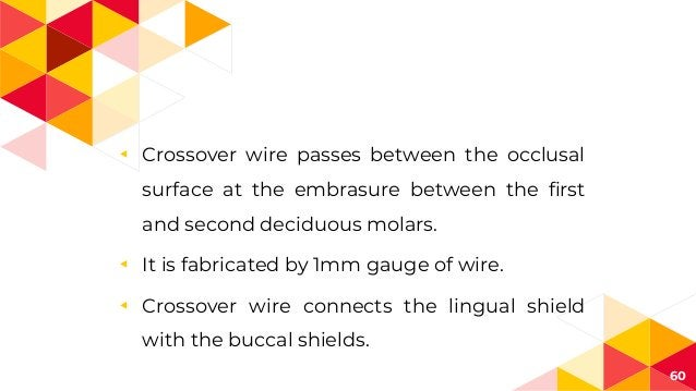◂ Crossover wire passes between the occlusal surface at the embrasure between the first and second deciduous molars. ◂ It ...
