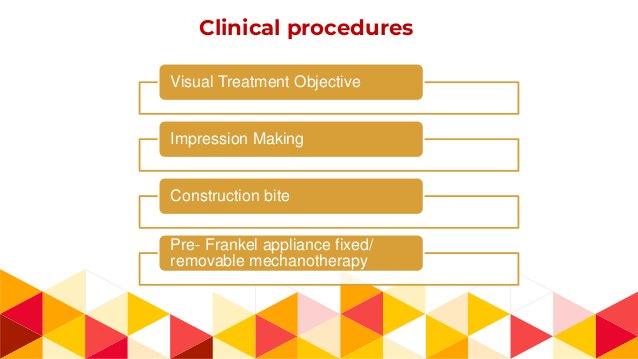 Clinical procedures Visual Treatment Objective Impression Making Construction bite Pre- Frankel appliance fixed/ removable...