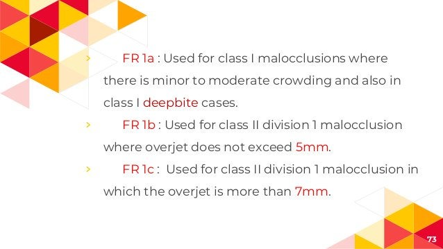 › FR 1a : Used for class I malocclusions where there is minor to moderate crowding and also in class I deepbite cases. › F...