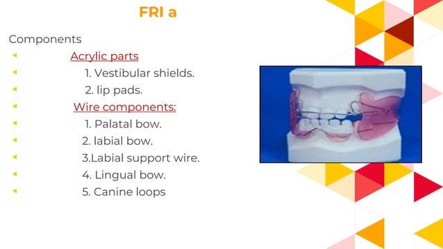 FRI a Components ◂ Acrylic parts ◂ 1. Vestibular shields. ◂ 2. lip pads. ◂ Wire components: ◂ 1. Palatal bow. ◂ 2. labial ...