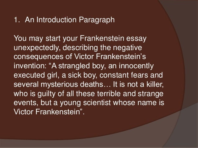 frankenstein english essay Essay writing guide learn the art of brilliant essay writing with help from our teachers learn more.
