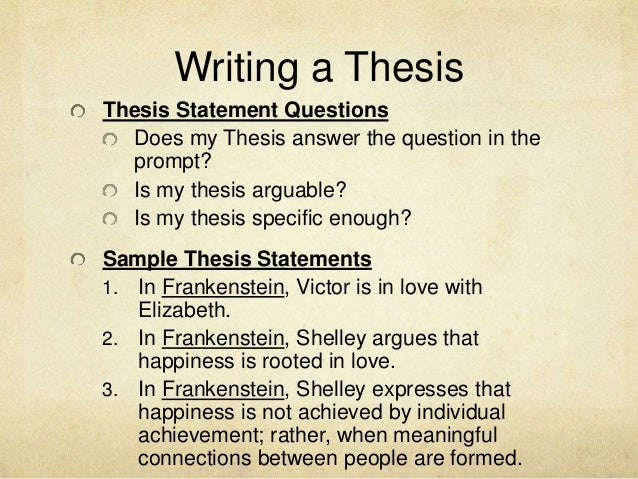 What is a good thesis statement for Frankenstein involving science?