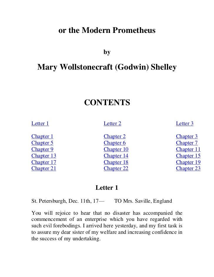 frankenstein letter A teacher's guide to the signet classics edition of mary shelley's frankenstein 5 health and psyche his reprieve is shattered, however, when a letter from alphonse.