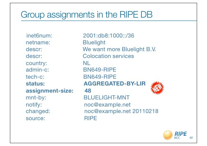 Group assignments in the RIPE DB inet6num:     2001:db8:1000::/36 netname:     Bluelight descr:     ...