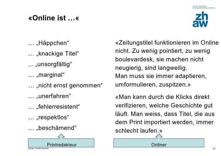 """«Online ist …«… """"Häppchen""""                         «Zeitungstitel funktionieren im Online… """"knackige Titel""""               ..."""