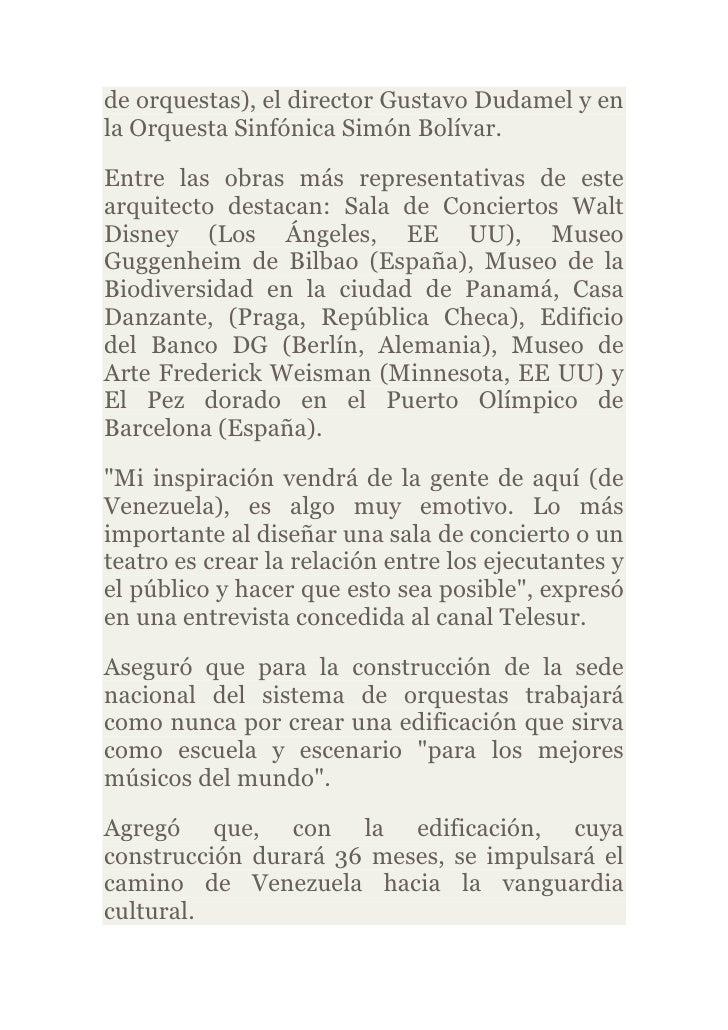 de orquestas), el director Gustavo Dudamel y enla Orquesta Sinfónica Simón Bolívar.Entre las obras más representativas de ...