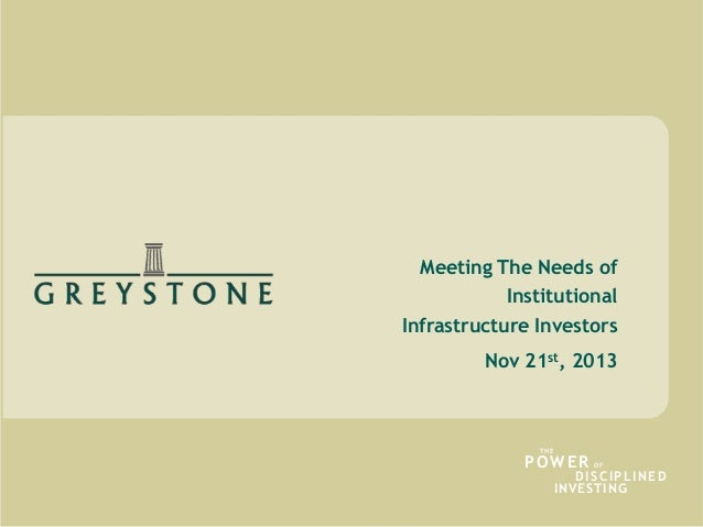 Meeting The Needs of Institutional Infrastructure Investors Nov 21st, 2013  THE  POWER  OF  D I S C I PL I N E D INVESTING...