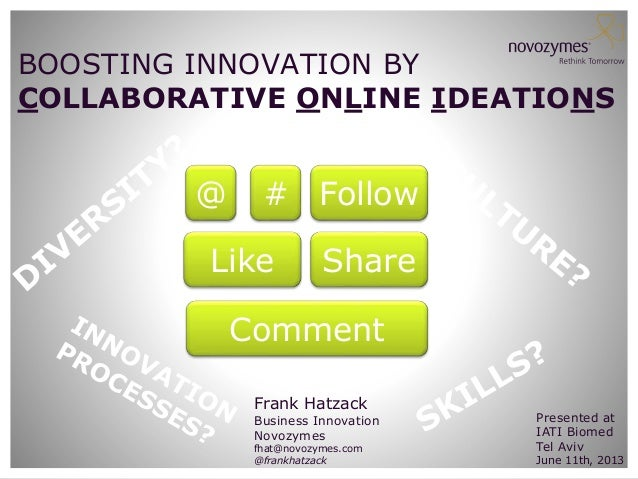 BOOSTING INNOVATION BY COLLABORATIVE ONLINE IDEATIONS  @  # Follow  Like  Share  Comment Frank Hatzack  Business Innovatio...