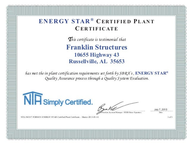 Franklin structures certified plant Energy Star Certificate