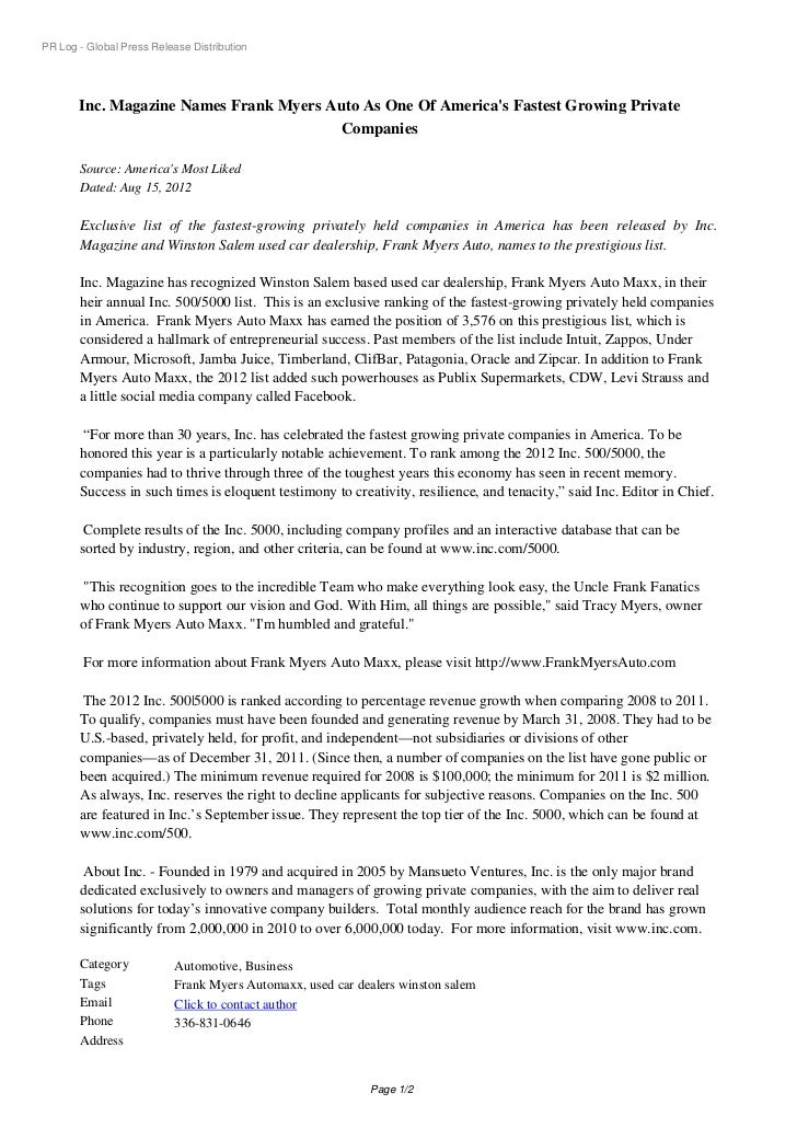 PR Log - Global Press Release Distribution       Inc. Magazine Names Frank Myers Auto As One Of Americas Fastest Growing P...
