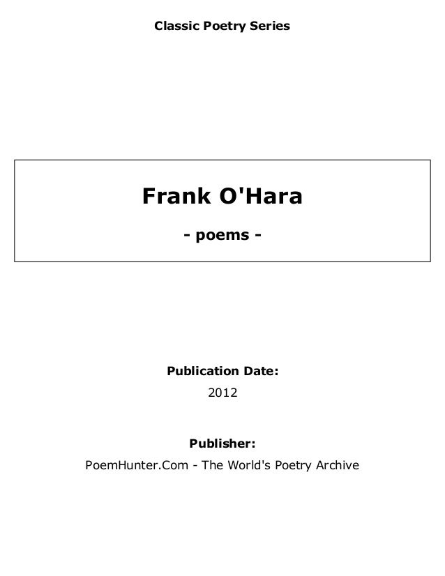 frank o hara the day lady died analysis