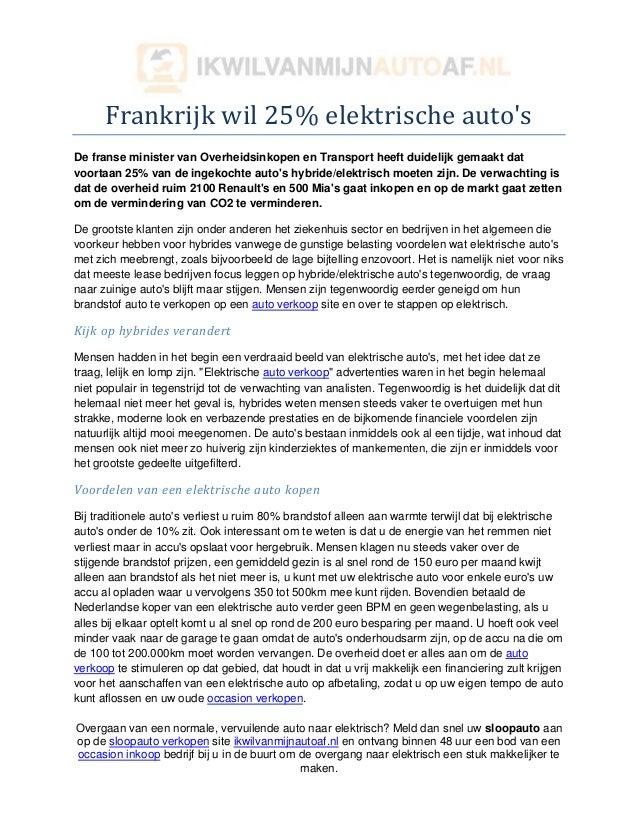 Frankrijk Wil 25 Elektrische Auto S