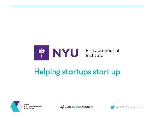 2016 NYU Entrepreneurs Festival Opening Remarks