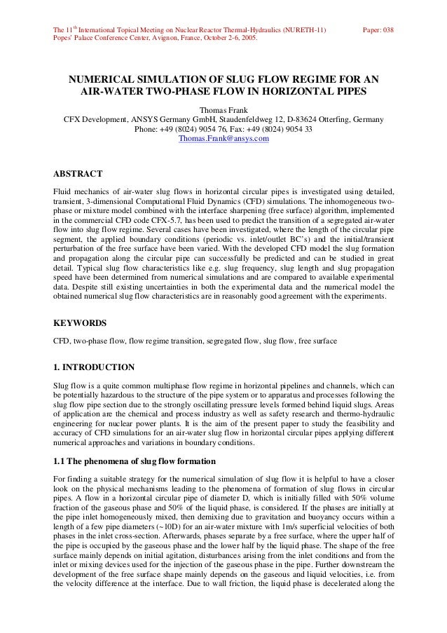 The 11th International Topical Meeting on Nuclear Reactor Thermal-Hydraulics (NURETH-11)       Paper: 038Popes' Palace Con...