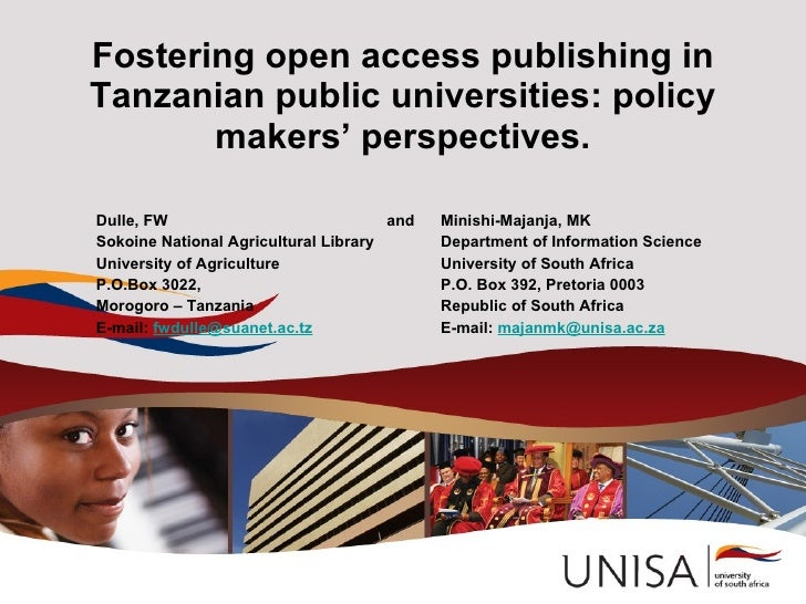Fostering open access publishing in Tanzanian public universities: policy        makers' perspectives.  Dulle, FW         ...