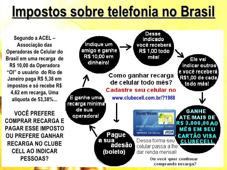 Impostos sobre telefonia no Brasil    Segundo a ACEL –      Associação dasOperadoras de Celular doBrasil em uma recarga de...