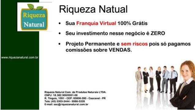 Franquia Riqueza Natural - Apresentação do Negócio Slide 2