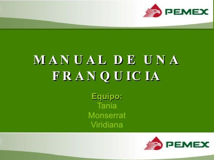 MANUAL DE UNA FRANQUICIA Equipo: Tania Monserrat Viridiana