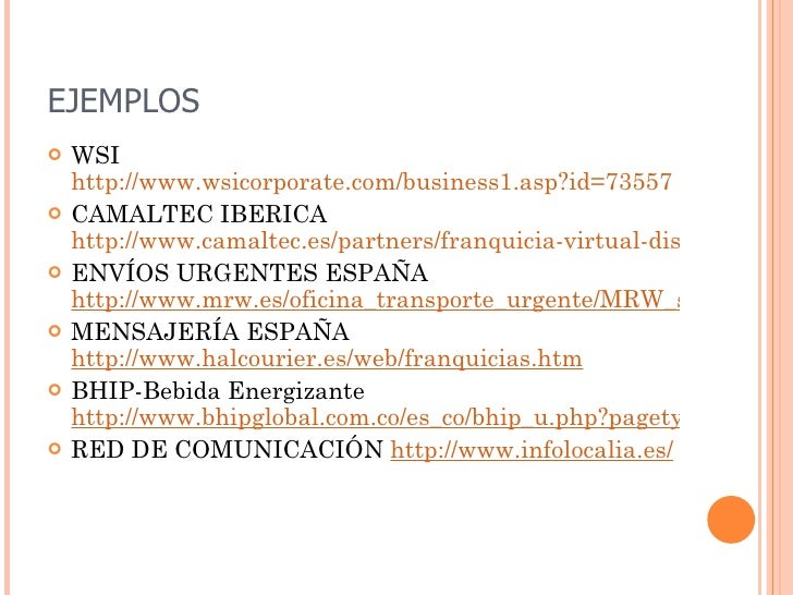 Franquicia virtual for Oficinas mrw madrid