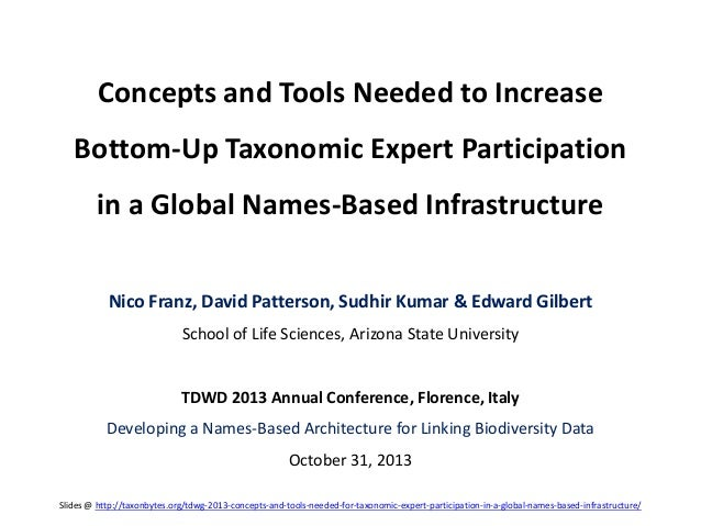 Concepts and Tools Needed to Increase Bottom-Up Taxonomic Expert Participation in a Global Names-Based Infrastructure Nico...