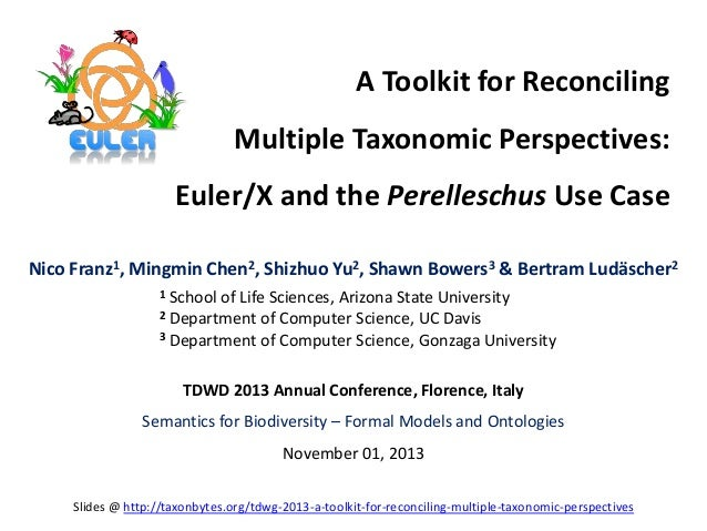 A Toolkit for Reconciling Multiple Taxonomic Perspectives: Euler/X and the Perelleschus Use Case Nico Franz1, Mingmin Chen...