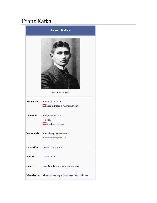Franz Kafka  Franz Kafka  Franz Kafka en 1906.  Nacimiento 3 de julio de 1883  Praga, Imperio Austrohúngaro  Defunción 3 d...