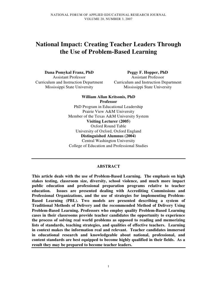 NATIONAL FORUM OF APPLIED EDUCATIONAL RESEARCH JOURNAL                         VOLUME 20, NUMBER 3, 2007  National Impact:...