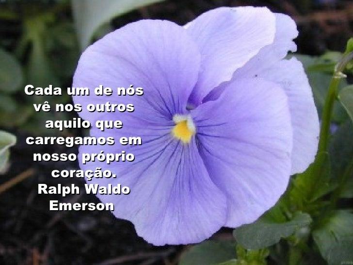 Cada um de nós vê nos outros aquilo que carregamos em nosso próprio coração. Ralph Waldo Emerson