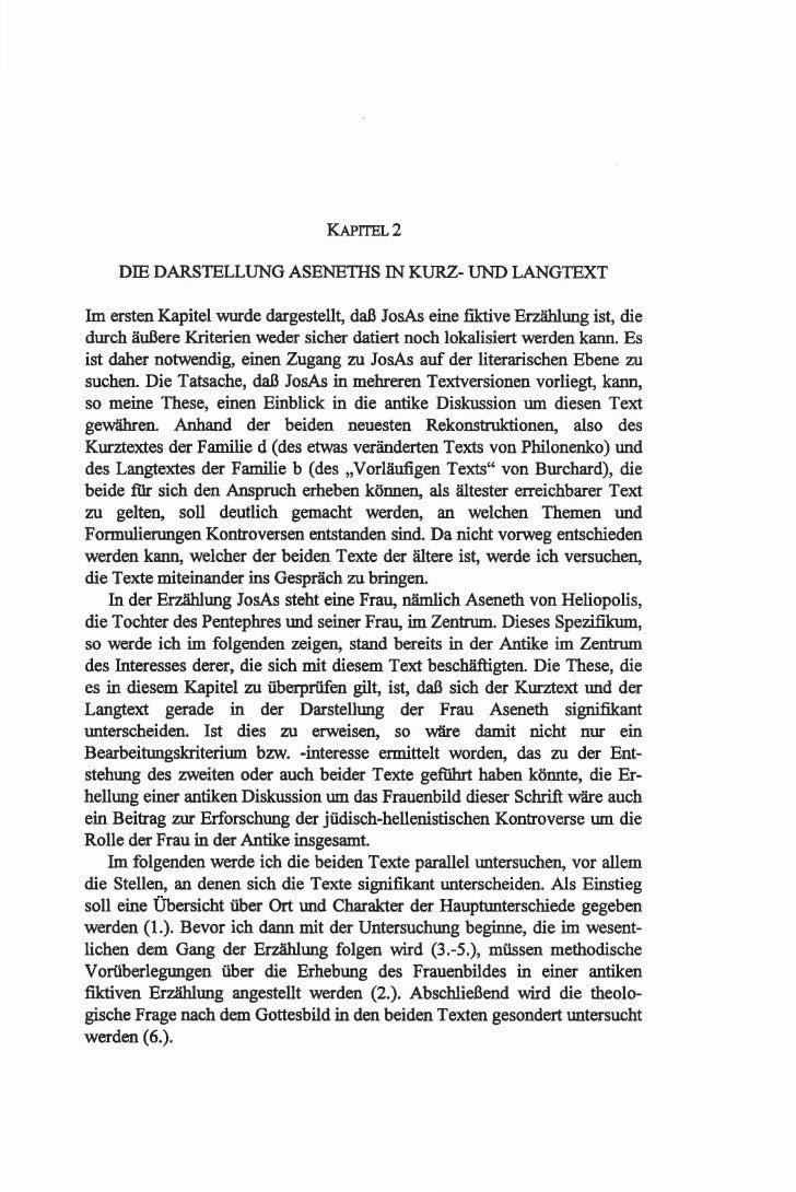 KAPITEL2      DIE DARSlELLUNG ASENETIIS IN KURZ- UNO LANGlEXT  1m ersten Kapitel wurde dargesteUt, daB JosAs eine fiktive ...