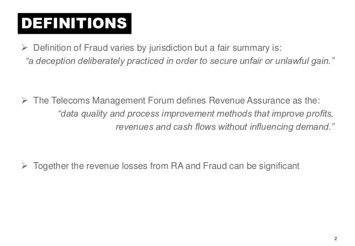 DEFINITIONS Definition Of Fraud ...