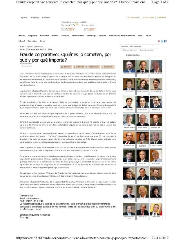 Fraude corporativo: ¿quiénes lo cometen, por qué y por qué importa? | Diario Financiero ...                               ...